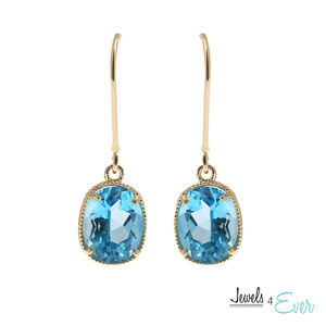 10K Gold Leverback Earring with Genuine Blue Topaz